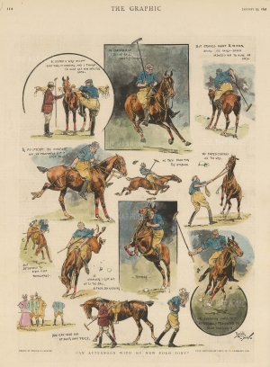 "Graphic Magazine: An Afternoon with my new Polo pony. 1896. A hand coloured original antique wood engraving. 10"" x 13"". [SPORTSp3512]"