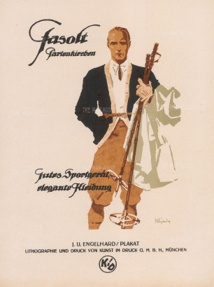 Skiing: Advertisment for Fasolt Partenkirchen. Gutes Sportgerät, elegante Kleidung (Good sports gear, elegant clothing).