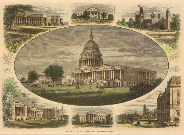 Washington DC: Capitol, White House, Treasury, Smithsonian, City Hall.