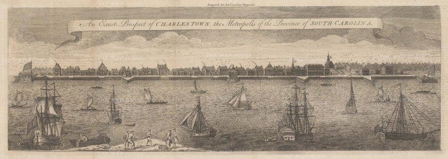 "London Magazine: Charleston. 1762. An original antique copper engraving. 21"" x 7"". [USAp4847]"