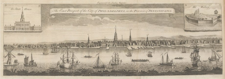 "London Magazine: Philadelphia. 1761. An original antique copper engraving. 21"" x 7"". [USAp4848]"