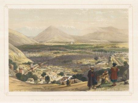 Kabul: View of the city and the Balla Hissar from the Citadel at Shirdarwaza.