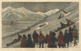 Tobogganing at Kabul: Officers and soldiers on the slopes.