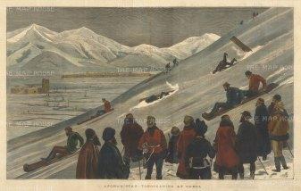 Tobogganing at Kabul: Officers tobogganing. Second Anglo-Afghan War.