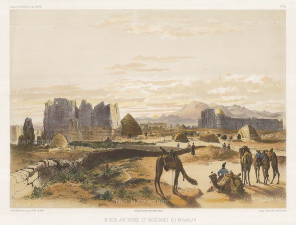 Balkh, Khorassan: View of the Islamic, Buddhist and Zoroastran ruins. After Jules Laurens.