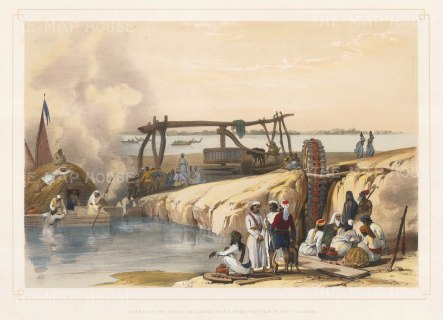 Scene near Pakputtan on the River Sutledge with a Persian irrigation wheel.