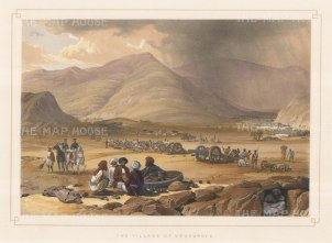 Urghundee (Bamiyan): View of an encampment in the valley between the Hindu Kush and Koh-i-Baba ranges.