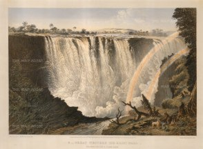 Victoria Falls: Great Western Fall from Three Rill Cliff to Garden Island.
