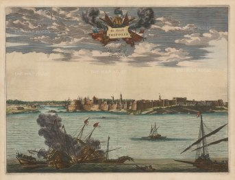 Tripoli, Libya. Panorama of the fortified city and port, a principal settlement at this time for pirates on the Barbary coast.