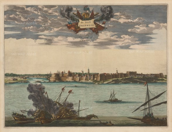 Tripoli, Libya. Panorama of the fortified city and port, a principal settlement for pirates on the Barbary coast.