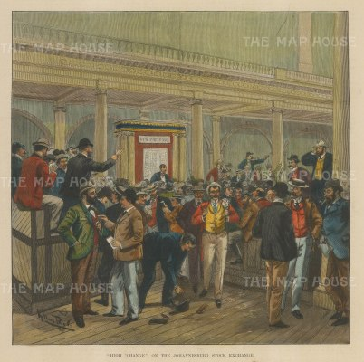 """Illustrated London News: Johannesburg Stock Exchange. 1881. A hand coloured original antique wood engraving. 10"""" x 14 """". [AFRp1322]"""