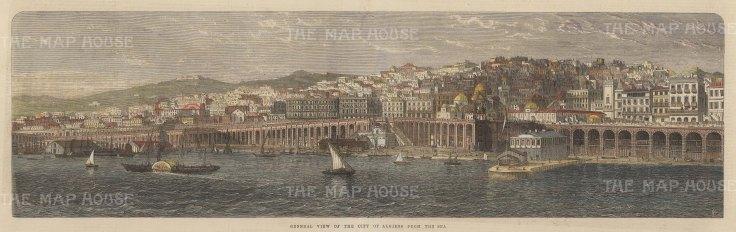 "Illustrated London News: Algiers, Algeria. 1865. A hand coloured original antique wood engraving. 21"" x 8"". [AFRp1389]"