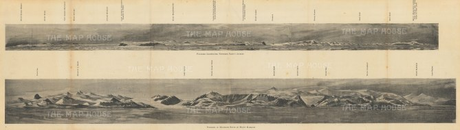 Panorama Illustrating Northern Party's Journey: Double panorama showing areas of Antarctic exploration, probably produced to commemorate Shackleton's Nimrod Expedition.