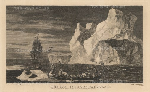 Ice Islands: Sailors hunting and collecting with the Resolution in distance. Capt James Cook's Second Voyage 1772-75.