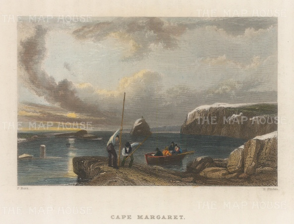 Cape Margaret: Figures disembarking from rowing boat. 2nd Arctic Expedition 1829-33.