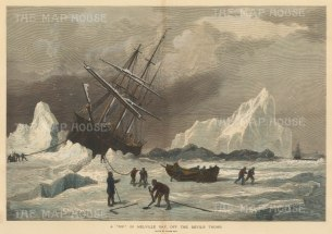 Melville Bay off the Devil's thumb: Resolute trapped in the ice with the Intrepid in the distance. Belcher Expedition 1852-4.