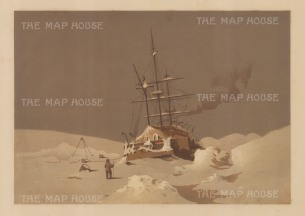 HMS Alert: Fast in the ice 1876. From the Expedition of HMS Alert 1875/77.
