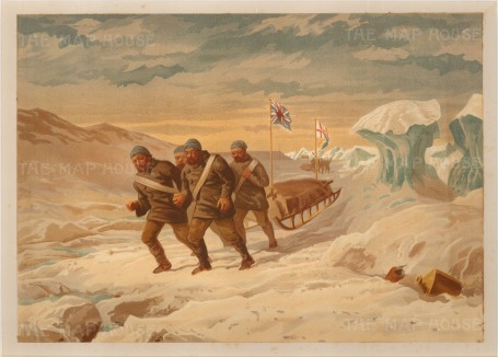 Explorers pulling sledge with Union Jack: From the Expedition of HMS Alert 1875/77: