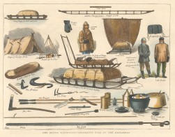 """Illustrated London News: Apparatus used by Arctic Explores. 1876. A hand coloured original antique wood engraving. 12"""" x 9"""". [ARCp477]"""