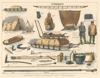 "Illustrated London News: Apparatus used by Arctic Explorers. 1876. A hand coloured original antique wood engraving. 12"" x 9"". [ARCp477]"