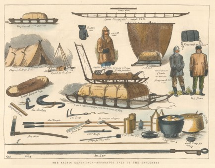 """Illustrated London News: Apparatus used by Arctic Explores. 1876. A hand coloured original antique wood engraving. 12"""" x 9"""". [ARTp477]"""