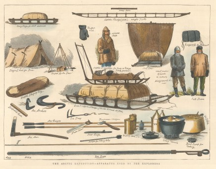 "Illustrated London News: Apparatus used by Arctic Explores. 1876. A hand coloured original antique wood engraving. 12"" x 9"". [ARCp477]"