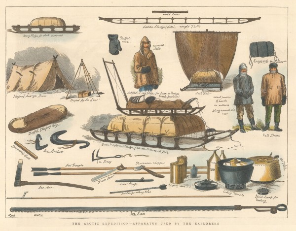 "Illustrated London News: Apparatus used by Arctic Explores. 1876. A hand coloured original antique wood engraving. 12"" x 9"". [ARTp477]"
