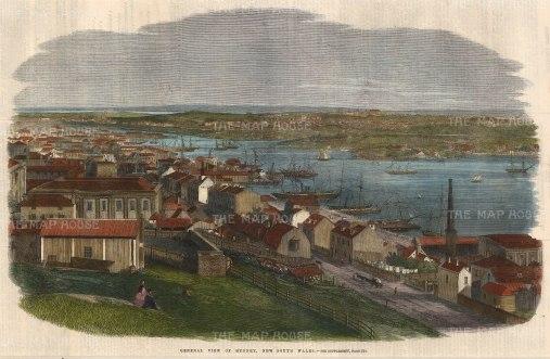 Illustrated London News: Sydney. 1861. A hand coloured original antique wood engraving. [AUSp546]