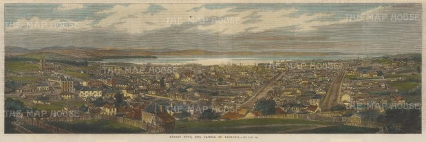 "Illustrated London News: Hobart, Tasmania. c1880. A hand coloured original antique wood engraving. 21"" x 7"". [AUSp700]"