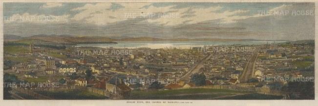 "Illustrated London News: Hobart, Tasmania. c1880. A hand coloured original antique wood engraving. 21"" x 7"". [AUSp700]"