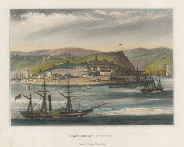 "Kelly: Port Philip, Melbourne. 1853. A hand coloured original antique steel engraving. 8"" x 7"". [AUSp705]"