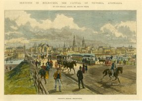 "Illustrated London News: Melbourne.. c1880. A hand coloured original antique wood engraving. 10"" x 7"". [AUSp714]"