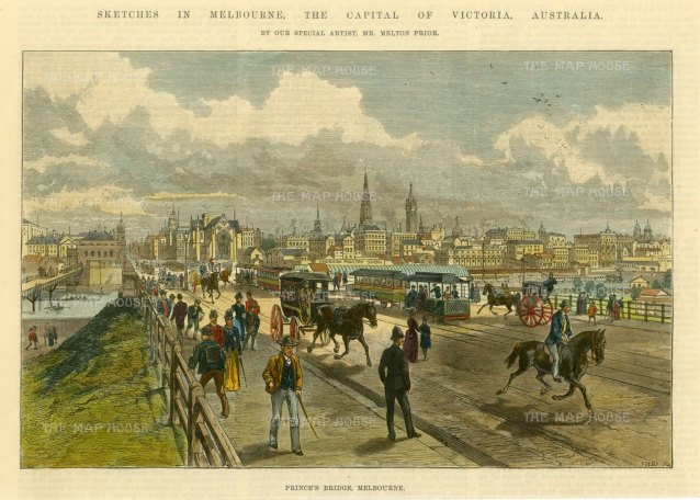 "Illustrated London News: Melbourne.. c1880. A hand coloured original antique wood engraving. 10"" x 7"". [AUSp714]"