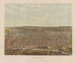"""Collins: Melbourne. c1880. An original antique chromolithograph. 10"""" x 8"""". [AUSp721]"""