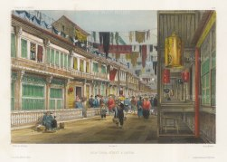 Canton (Guangzhou): New-China Street. After Barthélemy Lauvergne, one of the artists on the voyage of La Bonite, 1836-7.