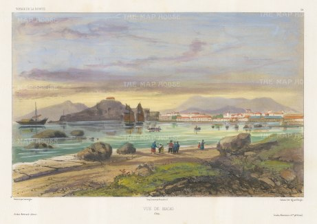 Macau: View overlooking the Pearl River Delta. After Barthelemy Lauvergne, artist on the voyage of La Bonite 1836-7.