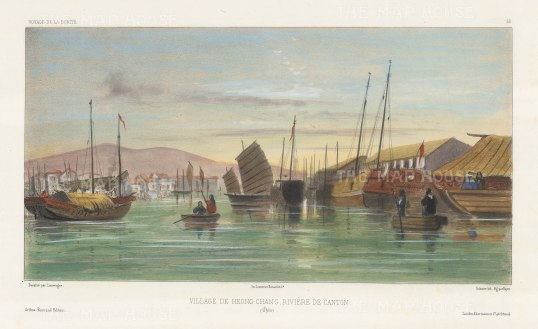 Heong Chang: View on the Pearl River. After Barthélemy Lauvergne, one of the artists on the voyage of La Bonite, 1836-7.