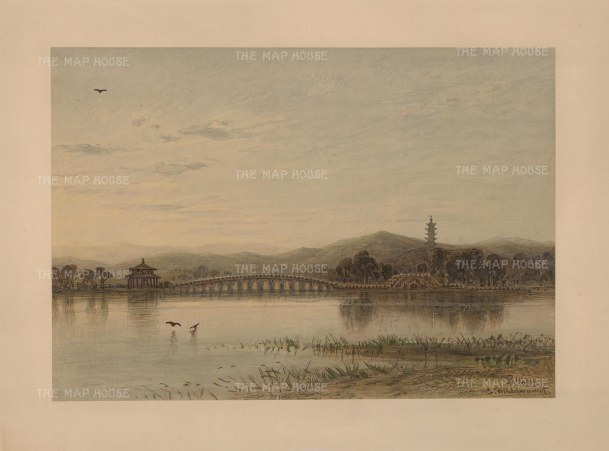 Peking (Beijing): Lugou bridge over the Yongding River to the Wanping Fortress. Drawn from life during Hildebrandt's 'round-the-world' voyage