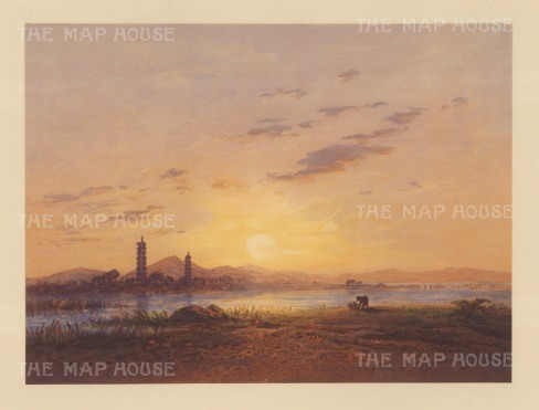 Whampoa Island (Pazhou): View of the Pagoda from across the Pearl River. Drawn from life during Hildebrandt's 'round-the-world' voyage.