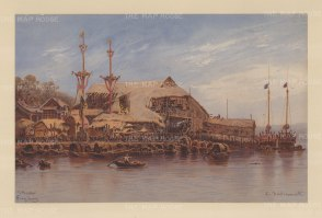Macau: View of the docks. Drawn from life during Hildebrandt's 'round-the-world' voyage