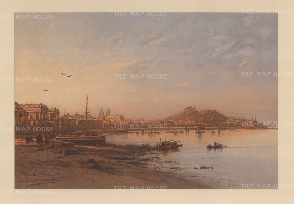 Macau: View of the city from across the Pearl river estuary. Drawn from life during Hildebrandt's 'round-the-world' voyage.