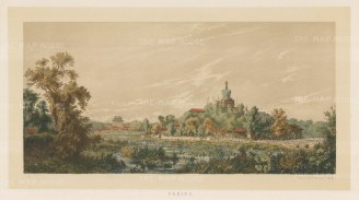 RARE Peking (Beijing): Baiti Si (White Stupa temple) on Qionghua Island. Drawn from life during the diplomatic mission of Prince zu Eulanberg to China, Japan, & Siam 1859-62.