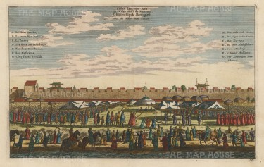 Canton (Guangzhou): Banquet of the Governor General (Viceroy) outside the city walls.With key in French and Dutch.