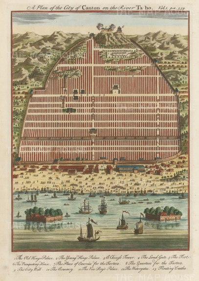Canton (Guangzhou): City Plan and view on the Ta-ho (Pearl) river: With key.: City Plan and view on the Ta-ho (Pearl) river: With key.