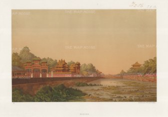 RARE: Peking. Imperial City. View on the Moat (Tongzi River). Drawn from life during the diplomatic mission of Prince zu Eulanberg to China, Japan & Siam & China 1859-62.