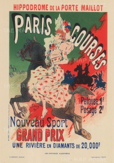 Longchamp Racecourse: Advertisement for the prestigious Prix de la Porte Maillot.