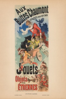 Aux Buttes Chaumont Department Store: Poster advertising toys and other items for children.