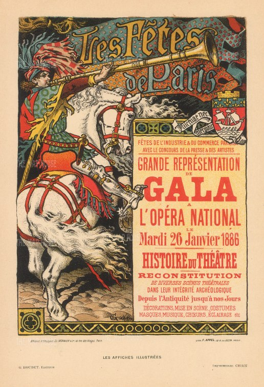 Les Fetes de Paris: l'Opera International Gala of the History of Theatre 1886 by Eugene Grasset.