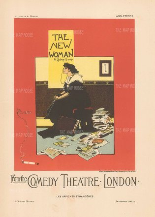 Comedy Theatre London: The New Woman by Sydney Grundy, illustrated by Albert Morrow.