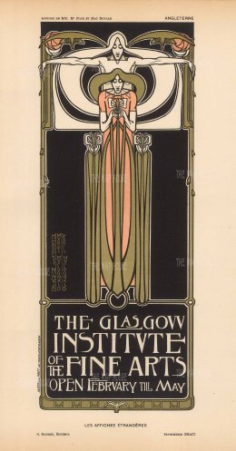 Glasgow Institute of the Fine Arts: Designed by Herbert McNair, Margaret and Francis MacDonald, who with Charles Rennie MacIntosh were known as 'The Four' of Scottish Art Nouveau.